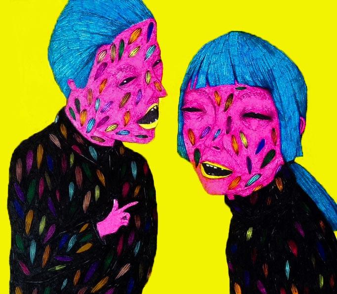 Conversation | 17 x 15.5 cm | Marker on Cardboard | 2015